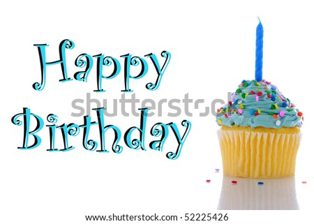 "a cupcake with blue frosting, sprinkles and a candle.  isolated on white with  ""happy birthday"" - stock photo"