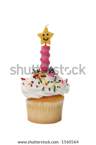 A cupcake with candle - stock photo