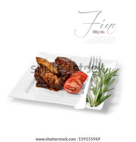 A curated image from my FINE series set. BBQ ribs covered in a rich barbecue sauce with ripe sliced tomatoes and rosemary. The perfect image for a restaurant or dinner invitation design. Copy space. - stock photo