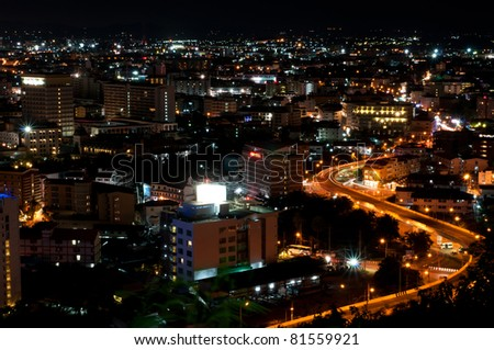 a curve road in Pattaya city at night time, famous place in thailand - stock photo