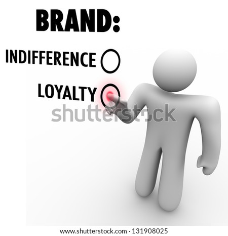 A customer chooses brand loyalty over indifference based on a company or product's reputation as a leader among many choices and competitors - stock photo