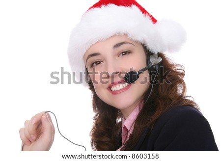 A customer service business woman at Christmas - stock photo