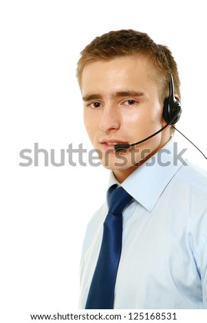 A customer support operator with a headset isolated on white background - stock photo