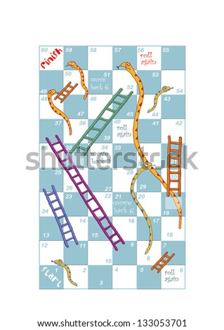 customisable print and play snakes and ladders game design - stock ...
