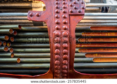A cut away view of the inside of a steam engine's firebox. - stock photo