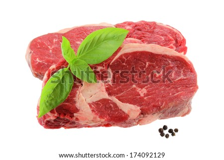A cut of meat from the back : fresh Sirloin steak, isolated on a white background  - stock photo