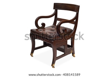 A cut-out of an antique wooden armchair with a leather-upholstered seat.
