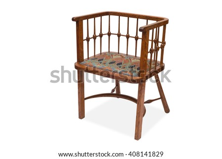 A cut-out of an antique wooden chair