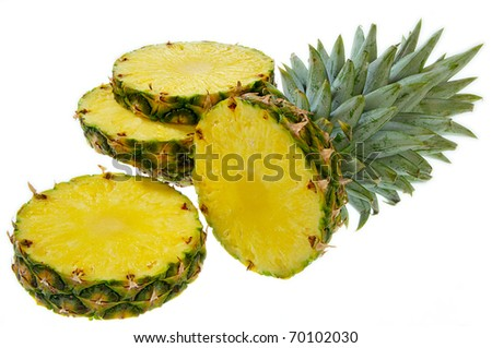 A cut pineapple isolated on a white background.