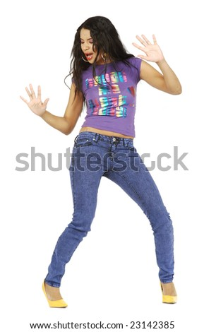 A cute African American woman dancing. - stock photo