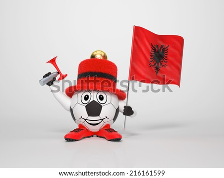 A cute and funny soccer character holding the national flag of Albania and a horn dressed in the colors of Albania on bright background supporting his team