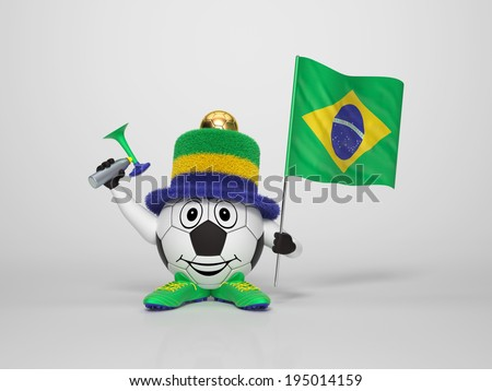 A cute and funny soccer character holding the national flag of brazil and a horn dressed in the colors of brazil on bright background supporting his team