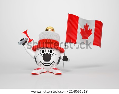 A cute and funny soccer character holding the national flag of Canada and a horn dressed in the colors of Canada on bright background supporting his team - stock photo