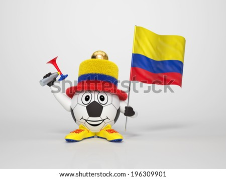 A cute and funny soccer character holding the national flag of Colombia and a horn dressed in the colors of Colombia on bright background supporting his team - stock photo