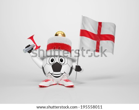 A cute and funny soccer character holding the national flag of England and a horn dressed in the colors of England on bright background supporting his team - stock photo