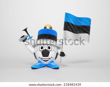 A cute and funny soccer character holding the national flag of Estonia and a horn dressed in the colors of Estonia on bright background supporting his team