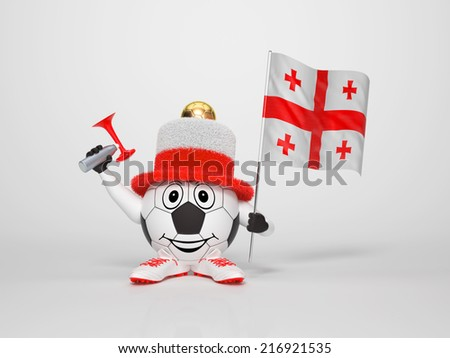 A cute and funny soccer character holding the national flag of Georgia and a horn dressed in the colors of Georgia on bright background supporting his team - stock photo