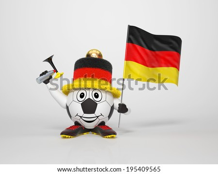 A cute and funny soccer character holding the national flag of Germany and a horn dressed in the colors of Germany on bright background supporting his team