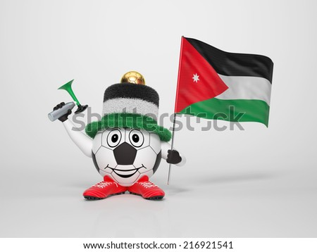 A cute and funny soccer character holding the national flag of Jordan and a horn dressed in the colors of Jordan on bright background supporting his team - stock photo