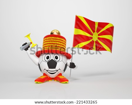A cute and funny soccer character holding the national flag of Macedonia and a horn dressed in the colors of Macedonia on bright background supporting his team - stock photo