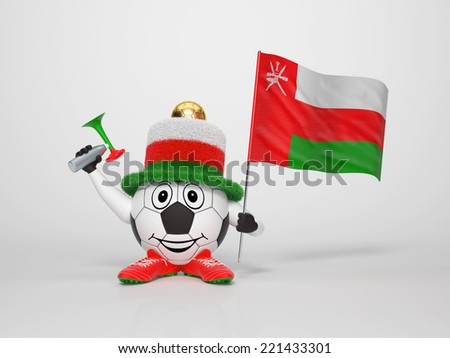 A cute and funny soccer character holding the national flag of Oman and a horn dressed in the colors of Oman on bright background supporting his team