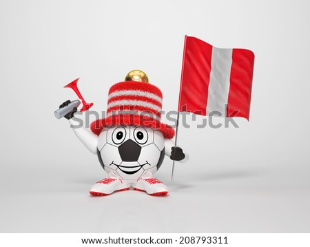 A cute and funny soccer character holding the national flag of Peru and a horn dressed in the colors of Peru on bright background supporting his team