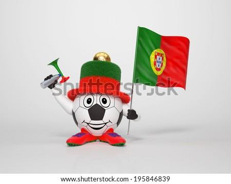 A cute and funny soccer character holding the national flag of Portugal and a horn dressed in the colors of Portugal on bright background supporting his team - stock photo