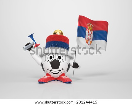 A cute and funny soccer character holding the national flag of Serbia and a horn dressed in the colors of Serbia on bright background supporting his team - stock photo