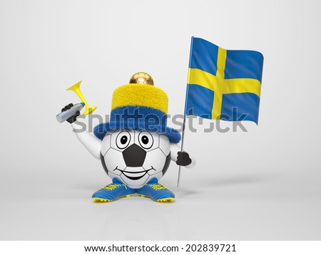 A cute and funny soccer character holding the national flag of Sweden and a horn dressed in the colors of Sweden on bright background supporting his team