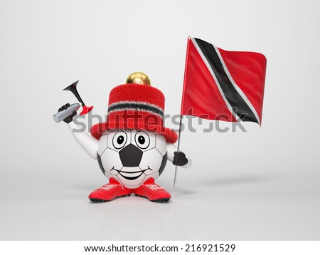A cute and funny soccer character holding the national flag of Trinidad and Tobago and a horn dressed in the colors of Trinidad and Tobago on bright background supporting his team