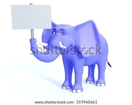 A cute blue cartoon elephant holding a blank sign in its trunk. White background. - stock photo