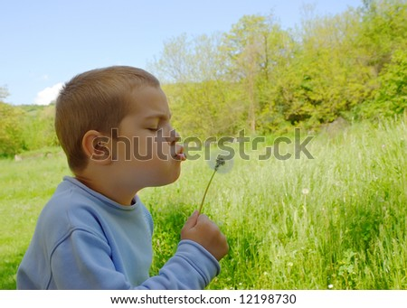 a cute boy is blowing a dandelion