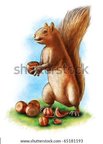A cute brown squirrel holding an hazelnut. Other hazelnuts, including a cracked one, on the ground. Digital illustration. - stock photo