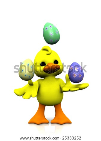 A cute cartoon chicken juggling with three easter eggs.