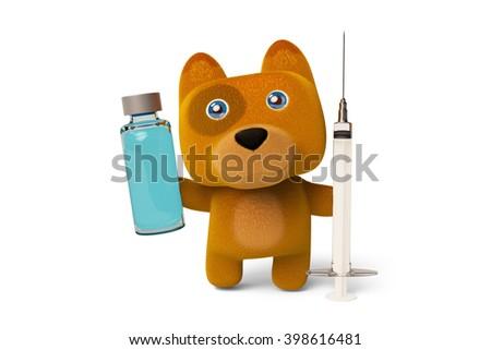 A cute cartoon dog holding a syringe and vaccine,Dog Nurses.3D rendering - stock photo
