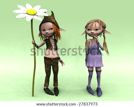 A cute cartoon elf boy and girl. The boy is holding a big flower. - stock photo