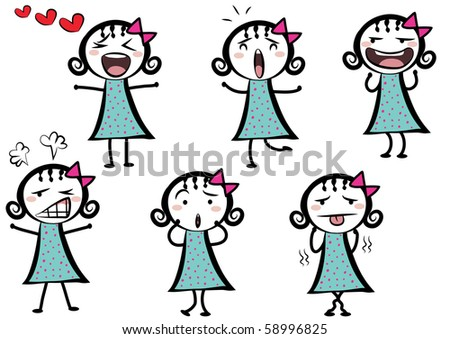 a cute cartoon girl with different expressions talking