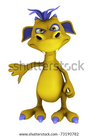 A cute cartoon monster doing a thumbs down. The monster is yellow with purple hair. Isolated on white background. - stock photo