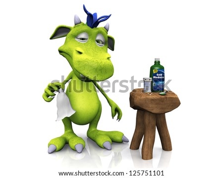 A cute cartoon monster feeling ill and having a cold. His medicine is on a stool beside him. White background.