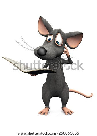 A cute cartoon mouse reading a book and looking very confused. White background. - stock photo