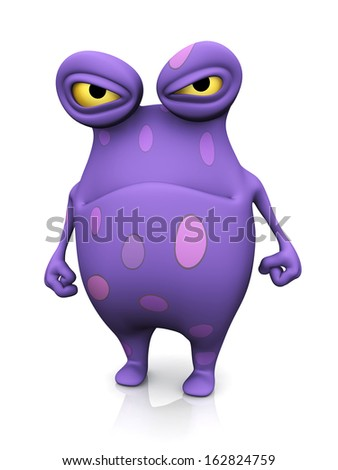A cute charming cartoon monster looking very angry. The monster is purple with big spots. White background. - stock photo