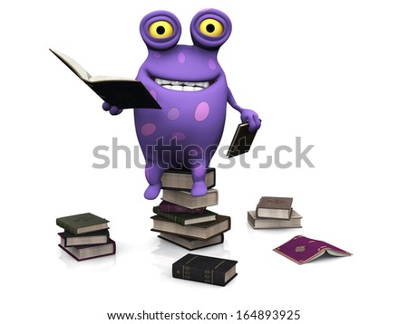 A cute charming cartoon monster sitting on a pile of books and reading. Several piles of books are on the floor around him. The monster is purple with big spots. White background. - stock photo