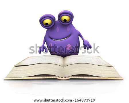 A cute charming cartoon monster sitting on the floor and reading a big book. The monster is purple with big spots. White background. - stock photo