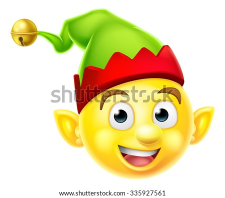 A cute Christmas Elf Santas helper emoticon emoji smiley icon - stock photo