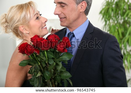 A cute couple on valentine day. - stock photo