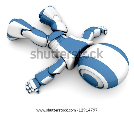 A cute 3d robot lying down wasted, as if his energy supply ran out. - stock photo