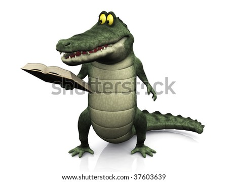 A cute, friendly cartoon crocodile reading a book that he is holding in his hand.
