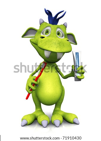 A cute friendly cartoon monster holding a red toothbrush in one hand and a toothpaste in the other hand. The monster is green with blue hair. White background.