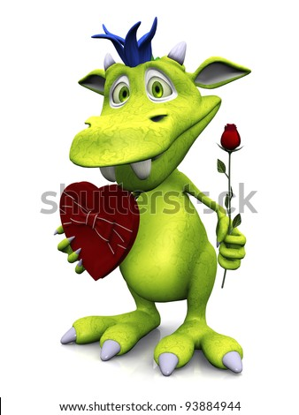 A cute friendly cartoon monster holding a rose in one hand and a heart shaped box of chocolate in the other. The monster is green with blue hair. White background.