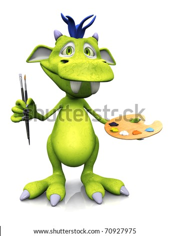 A cute friendly cartoon monster holding two brushes in one hand and an artist palette in the other. The monster is green with blue hair. White background.